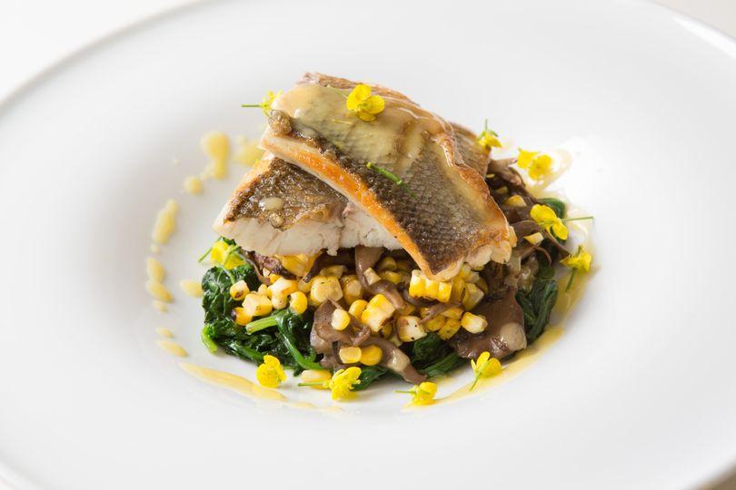 Montauk tilefish with sweet corn and barley risott
