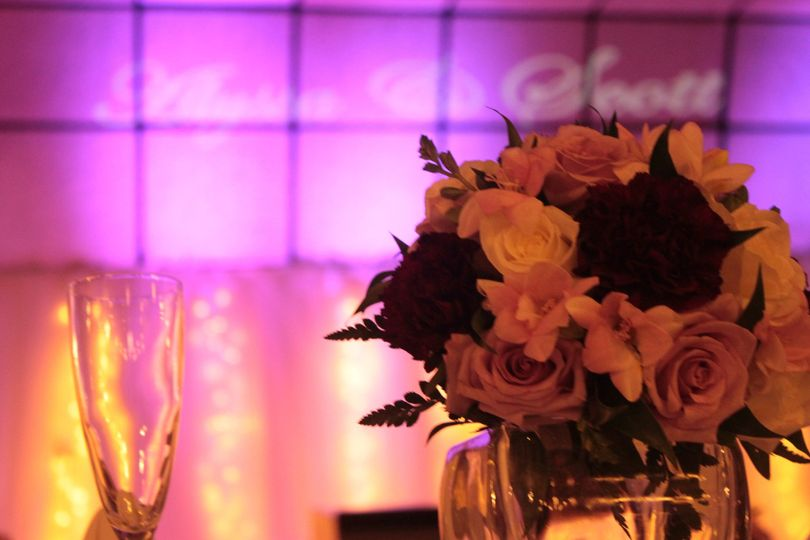DJ Ray K reception with Uplighting and Monogram at Tiffany's Banquet Center, Masury, Ohio