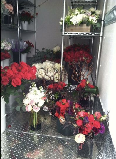 Floral decor stored in the trailer