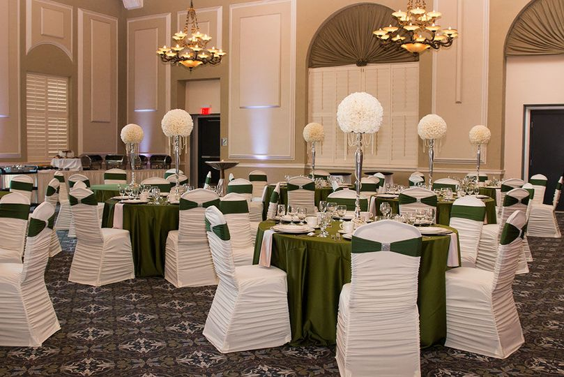 White and green motif wedding