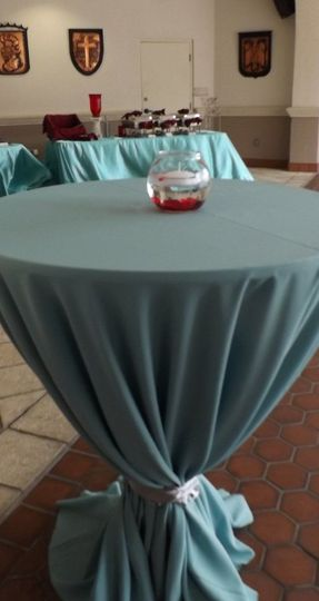 We cover your high top cocktail tables and provide small centerpieces as well.