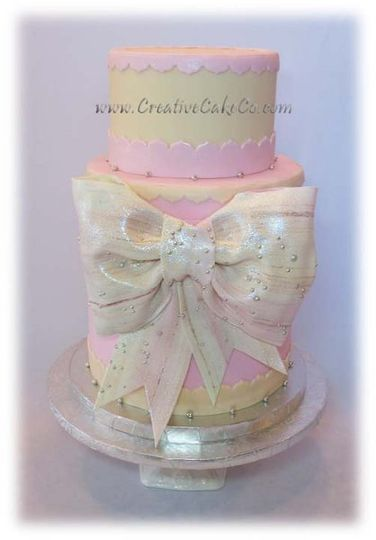 Pink and ivory double barrel with Sugarveil bow