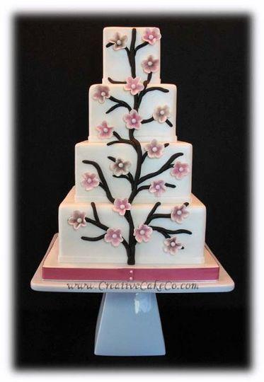4 tier square Cherry blossom cake