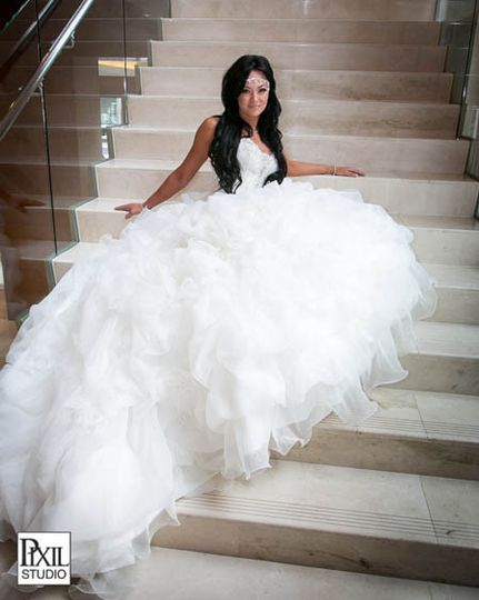 bridal portrait stair