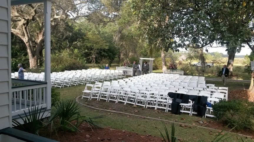East lawn can accommodate 150 chairs for ceremony on east porch.  Many other options are available.