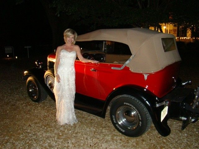 Jenni getting ready to leave in vintage car (can be rented for your wedding)