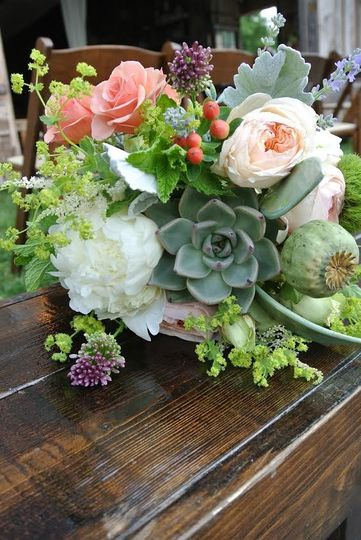 Succulents and flowers