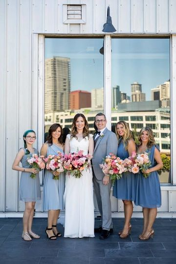Couple with their bridesmaids