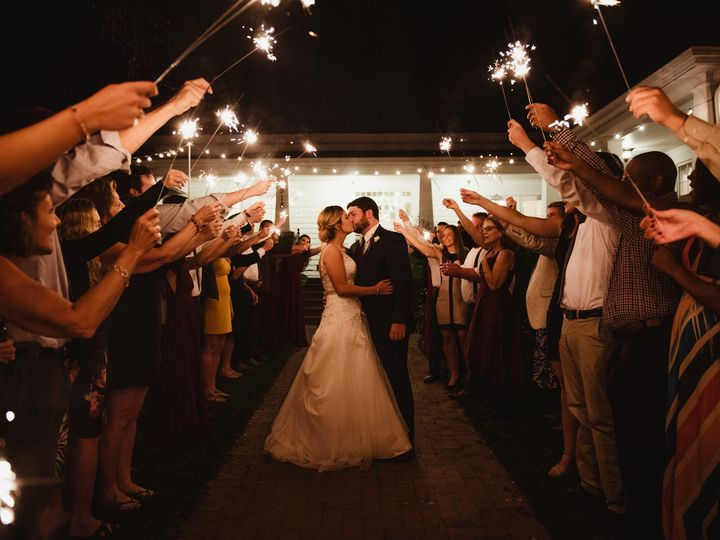 Tmx 1510245790193 Bride And Groom Kissing During The Sparkler Exit Rolesville, NC wedding photography