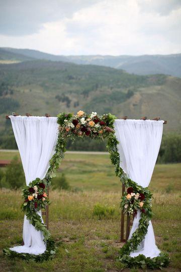Wedding arbor with decor