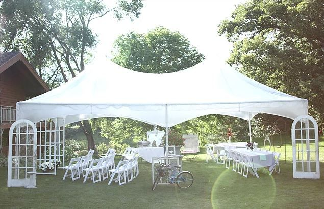 Sample tent outdoors