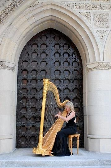 Kansas City Harpist, Dedra Coffee, and her harp add interest to the architecture at First...