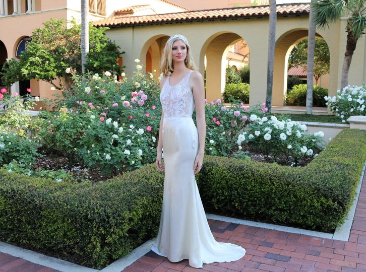 Silk satin wedding dress  fit-& flare skirt, Chantilly illusion embroidery top.
