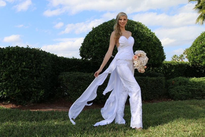 Bridal lace pants suit, elegant french lace low back top with satin flares with a nice elegant lace...