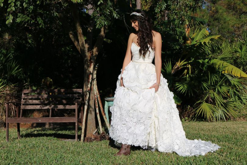 Ball gown three dimensional flower lace.