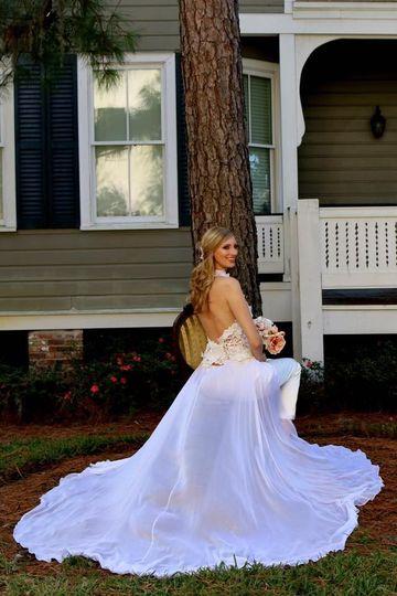 Satin bridal  pants suit, Beautiful floral Guipur lace halter low back top with a detachable silk...