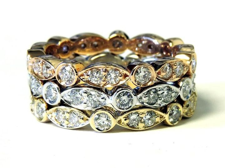 Tmx 1386779941337 Rose White And Yellow Gold Stackable Rings Featuri Atlanta wedding jewelry