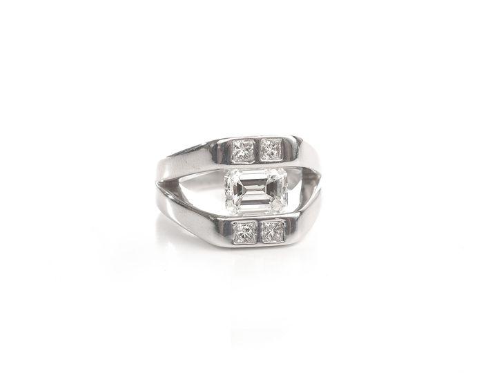 Tmx 1386780360493 Custom Platinum 2ct Emerald Cut Diamond With Flush Atlanta wedding jewelry