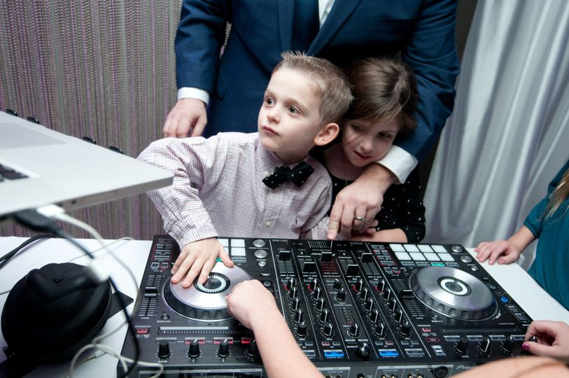 Wedding DJ with guests