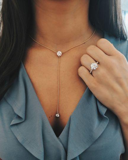 Round Diamond Lariat and Ring