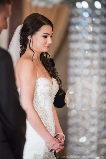 Beautiful bride in her wedding gown