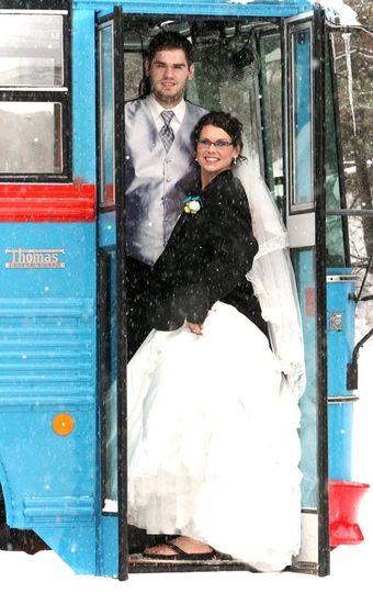 brittany wedding pic at bus door