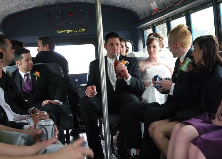 wedding party on party bus