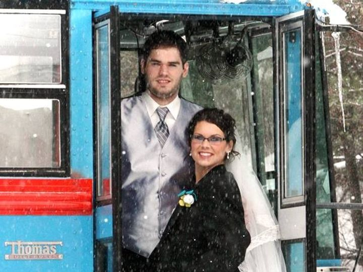 Tmx 1478191442847 Brittany Wedding Pic At Bus Door Eau Claire, WI wedding transportation