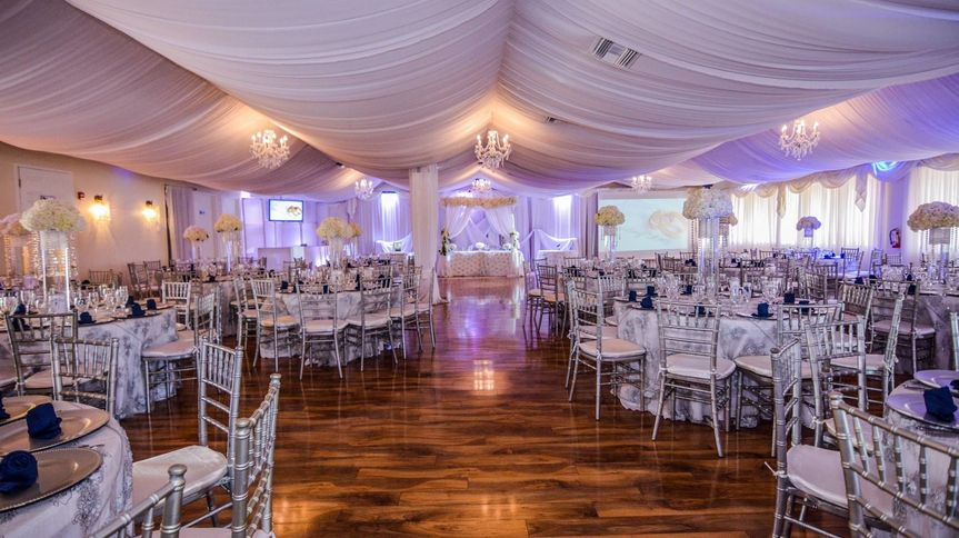 Reception hall lighting and drapery