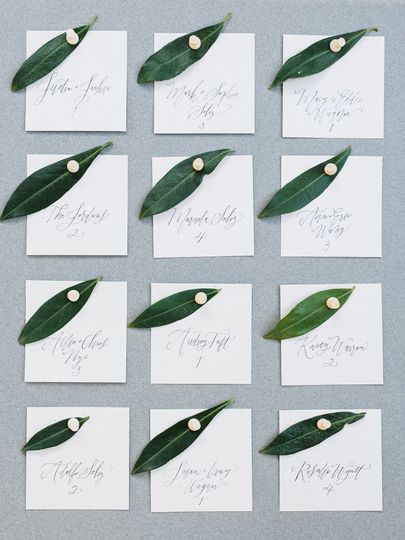 Escort cards hand lettered by Prairie Letter Shop.