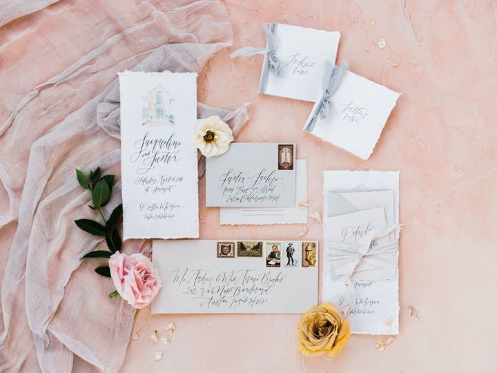 A gorgeous flat lay, featuring Prairie Letter Shop's hand lettered invitation suite and hand painted...