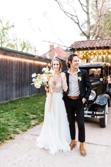 Dress by Chantilly Couture Bridal, Suit by Threads on Boston. Florals, Ever Something, vehicle from...