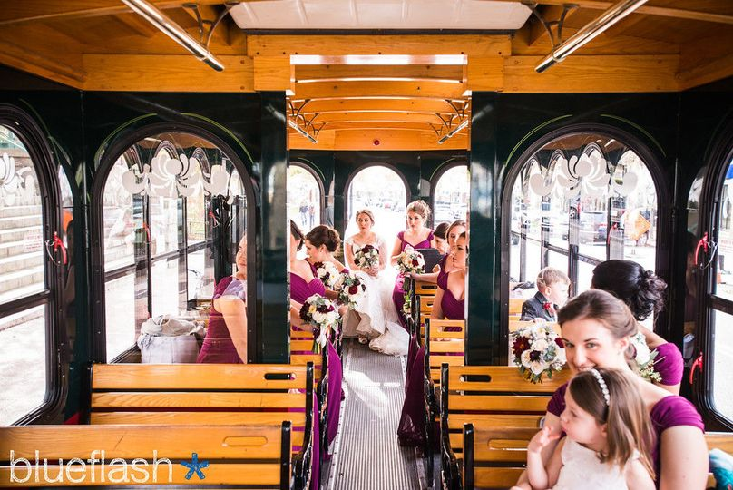 Wedding guests in the trolley