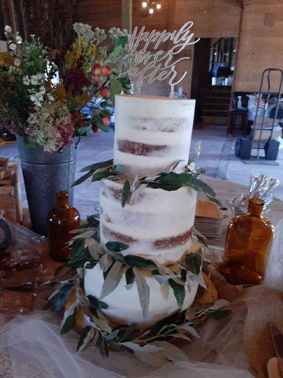 Semi-Naked 3 Tier Wedding Cake