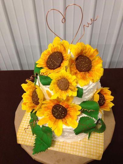 Fondant Sunflower Wedding Cake