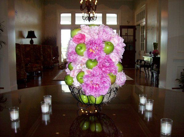 Floral arrangement for foyer table at Berkley Hall CC.  Designed with peonies, garden and sweet...