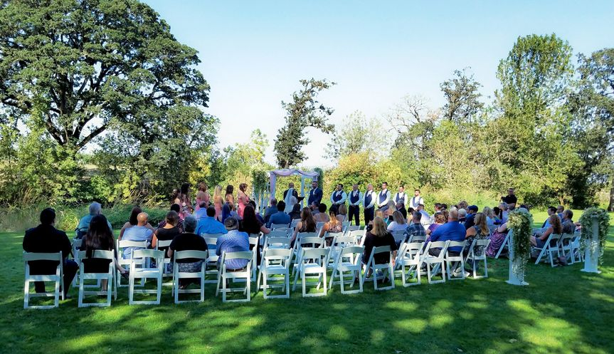 A view from the back of a ceremony. We used wireless mics for this couple.