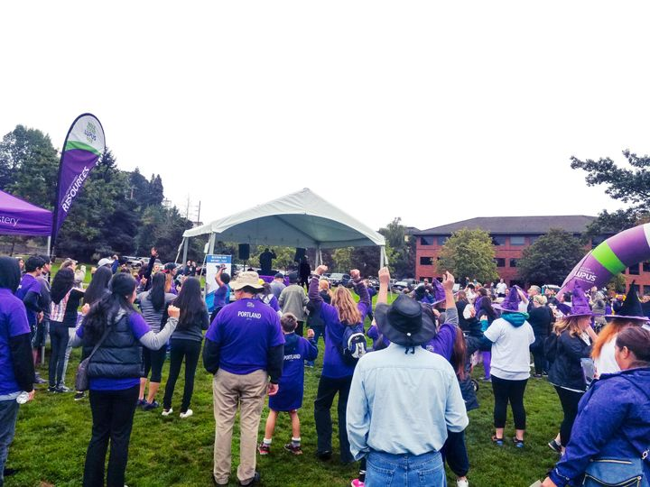 DJ Harris at the 2016 End Lupus Now event in Sellwood Park, Portland, OR. He is the DJ on the stage.
