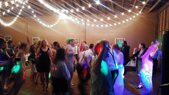 A dance party in a barn. Circa 2016.