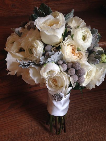 Silvery brunia berry and dusty miller, vanilla shaded garden roses and white ranunculus
