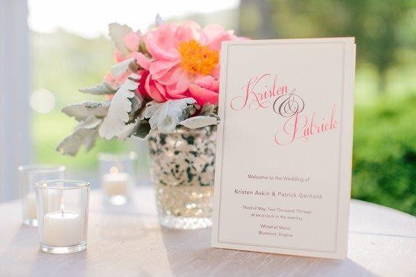 southern wedding calligraphy program