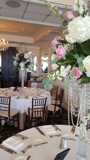 Floral decor on reception tables
