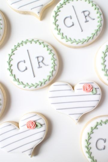 Custom Monogram + Heart Cookies