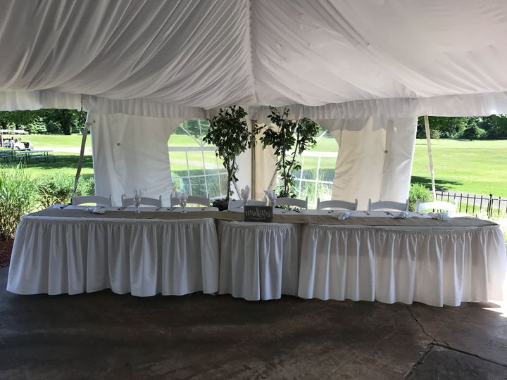 The Bridal Table set up in the Outside Garden Tent