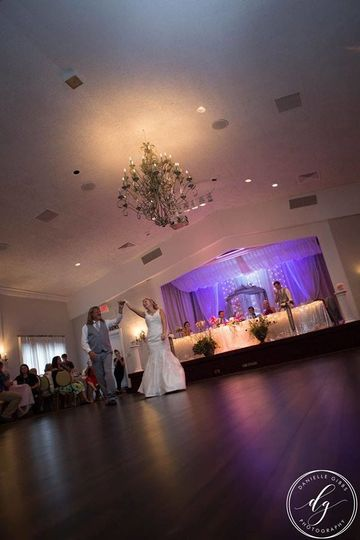 Our Beautiful Grand Ballroom with personalized lighted stage.