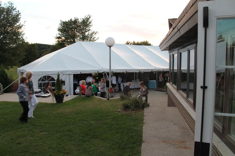 A view of the Outside Garden tent from the spacious outdoor patio.