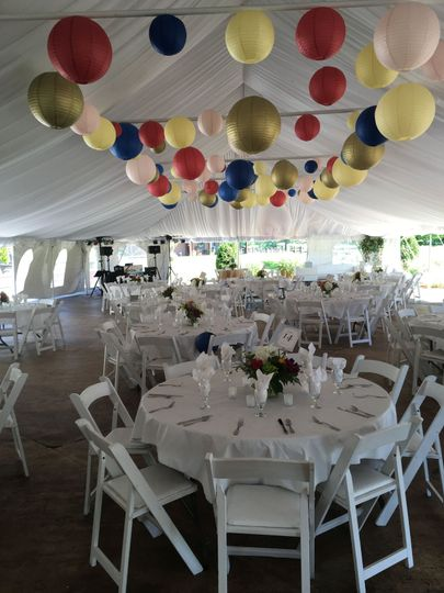 A fun decorated reception out in the Garden Tent.