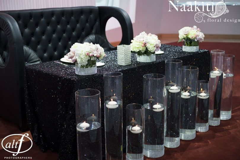 Floral centerpieces and floating candles