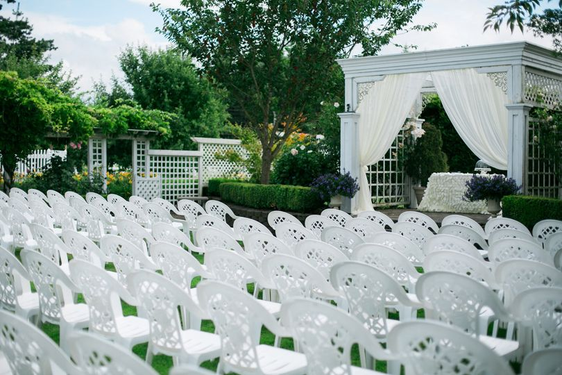 White chairs and tents