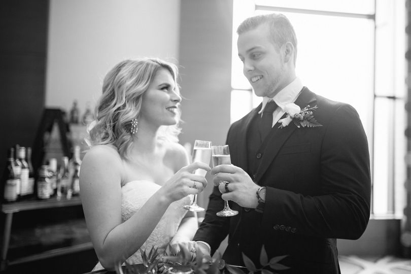 Couple giving a toast